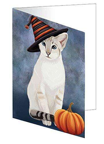Happy Halloween Oriental Blue Point Siamese Cat Wearing Witch Hat with Pumpkin Greeting Card