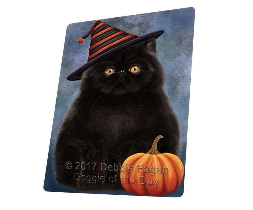 Happy Halloween Persian Cat Wearing Witch Hat with Pumpkin Art Portrait Print Woven Throw Sherpa Plush Fleece Blanket D048