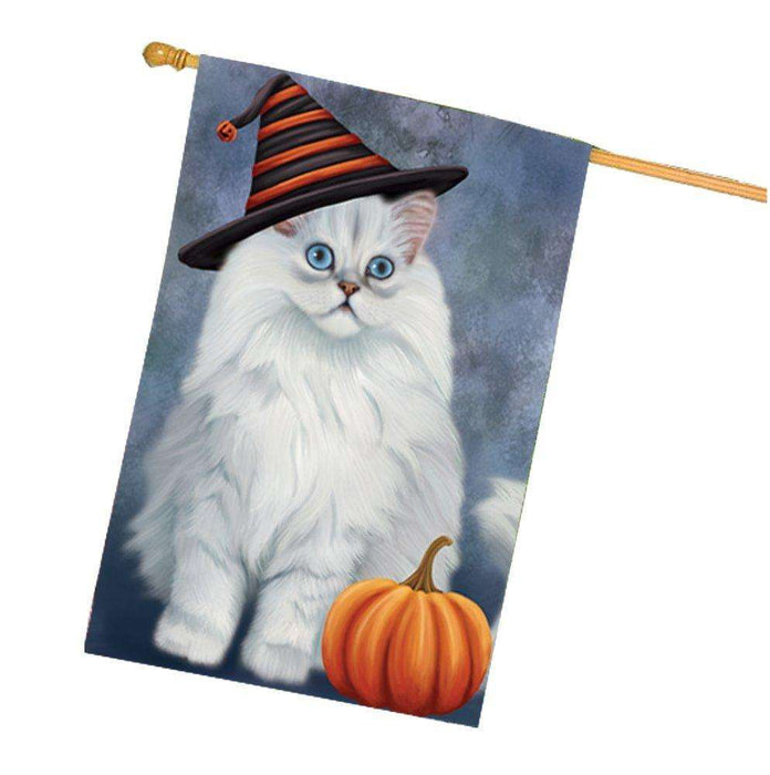 Happy Halloween Persian Cat Wearing Witch Hat with Pumpkin House Flag