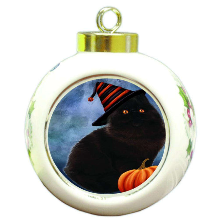 Happy Halloween Persian Cat Wearing Witch Hat with Pumpkin Round Ball Christmas Ornament RBPOR55102