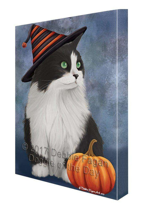 Happy Halloween Persian Cat Wearing Witch Hat with Pumpkin Wall Art Canvas