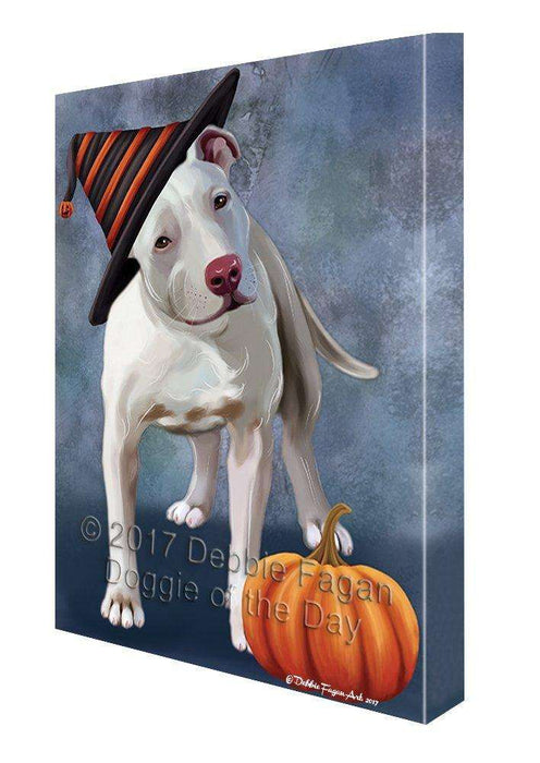 Happy Halloween Pit Bull Dog Donning Witch Hat with Pumpkin Wall Art Canvas