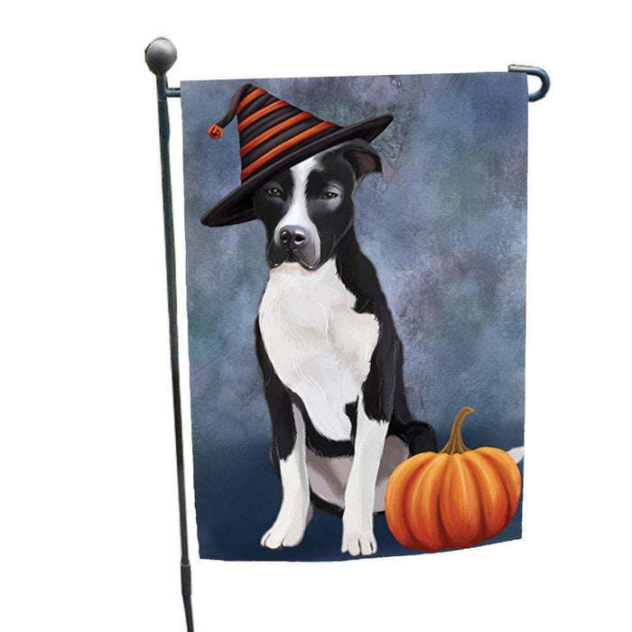 Happy Halloween Pit Bull Dog Wearing Witch Hat with Pumpkin Garden Flag