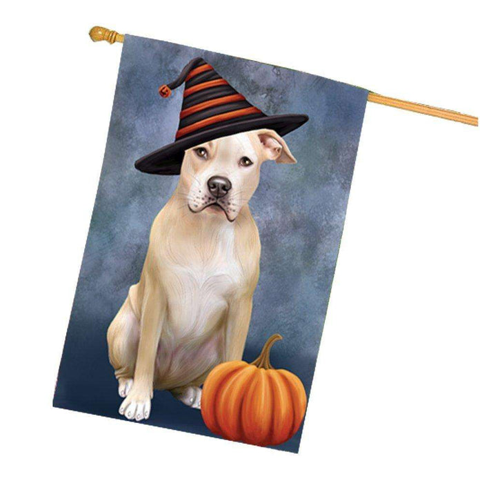 Happy Halloween Pit Bull Dog Wearing Witch Hat with Pumpkin House Flag