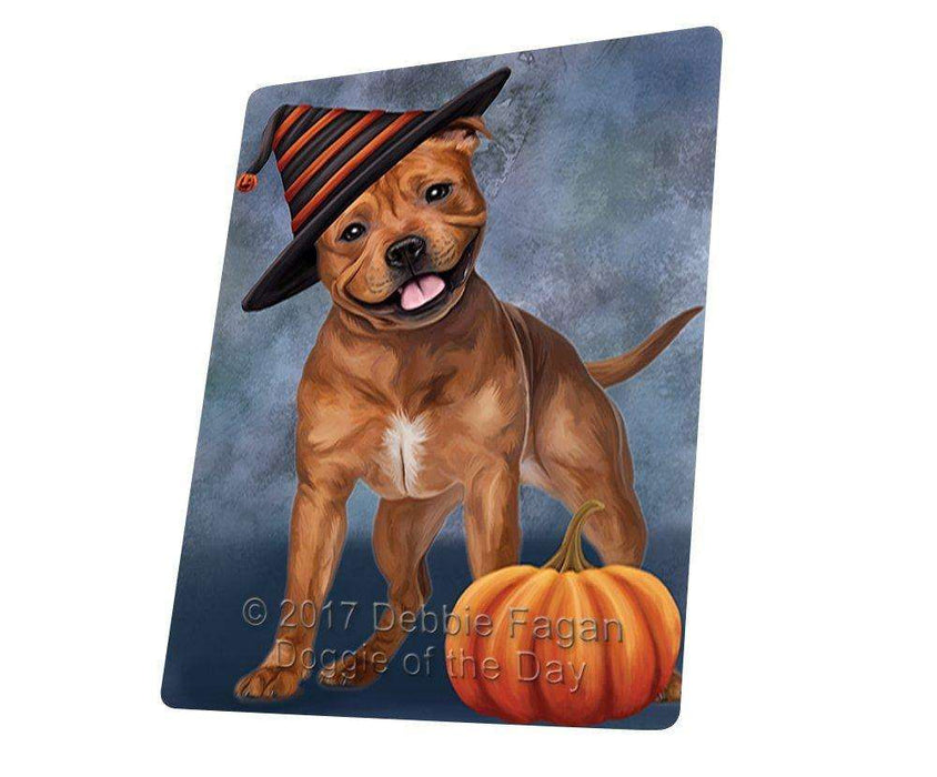 Happy Halloween Pit Bull Dog Wearing Witch Hat with Pumpkin Large Refrigerator / Dishwasher Magnet D143