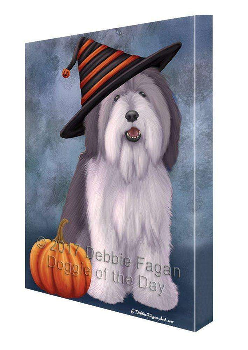 Happy Halloween Polish Lowland Sheepdog Dog Wearing Witch Hat with Pumpkin Canvas Wall Art