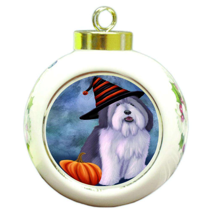 Happy Halloween Polish Lowland Sheepdog Wearing Witch Hat with Pumpkin Round Ball Christmas Ornament RBPOR55115
