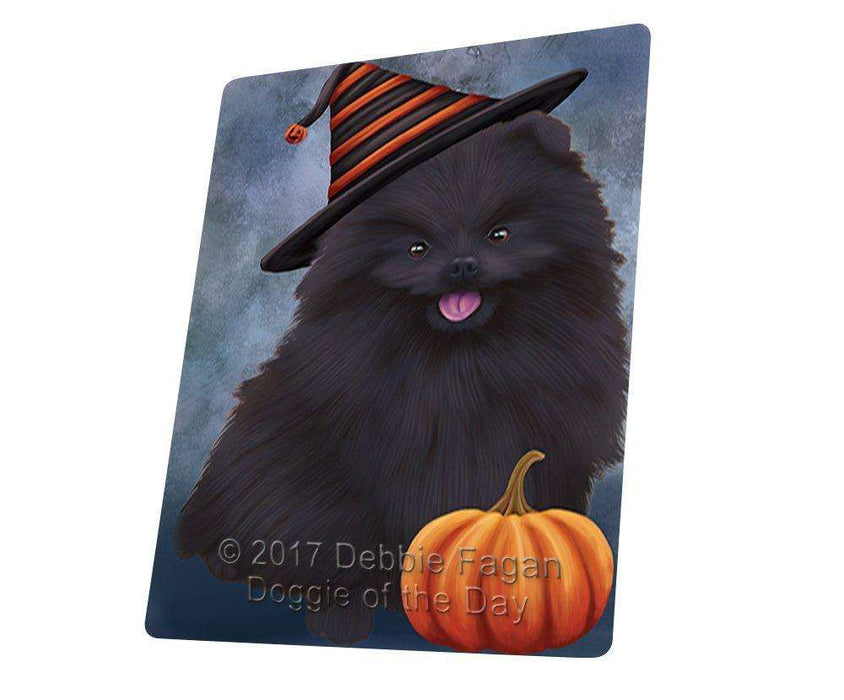Happy Halloween Pomeranian Black Dog Wearing Witch Hat with Pumpkin Art Portrait Print Woven Throw Sherpa Plush Fleece Blanket D063