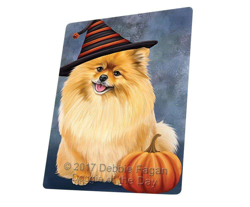 Happy Halloween Pomeranian Dog Wearing Witch Hat with Pumpkin Large Refrigerator / Dishwasher Magnet