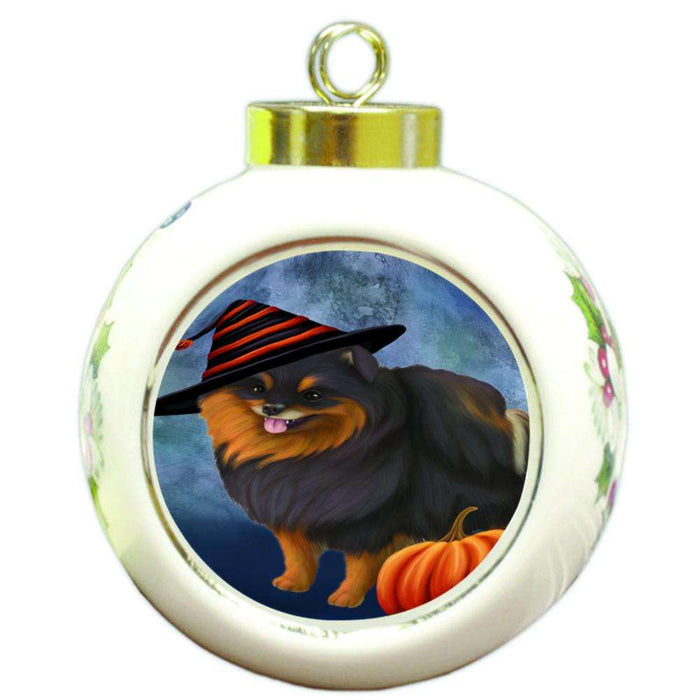 Happy Halloween Pomeranian Dog Wearing Witch Hat with Pumpkin Round Ball Christmas Ornament RBPOR55120