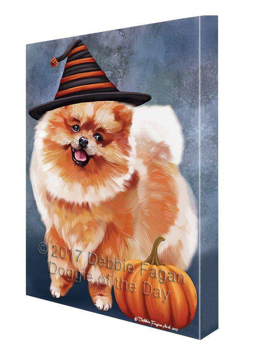 Happy Halloween Pomeranian Dog Wearing Witch Hat with Pumpkin Wall Art Canvas