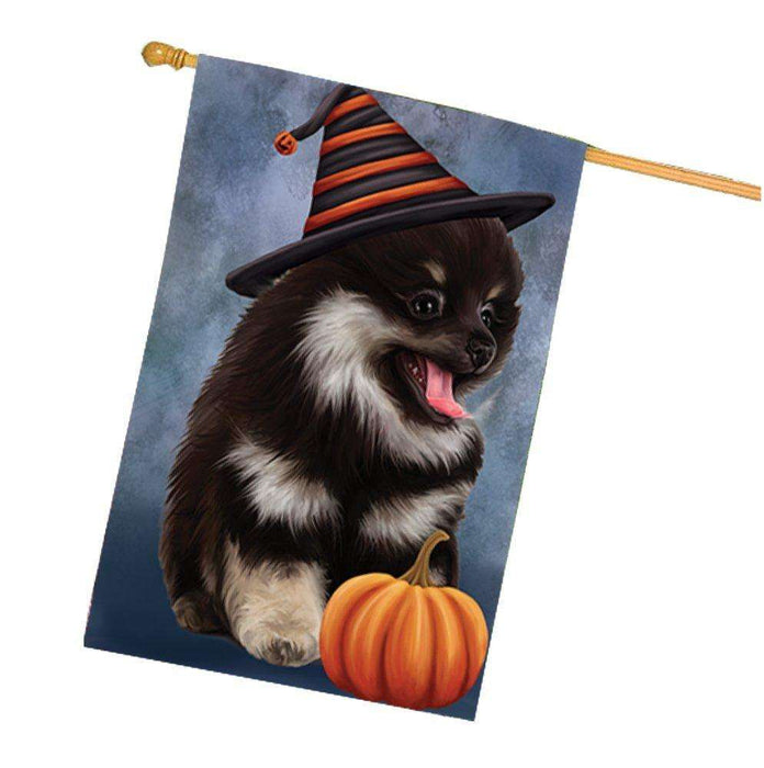 Happy Halloween Pomeranian Spitz Dog Wearing Witch Hat with Pumpkin House Flag