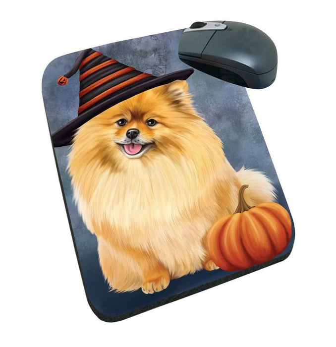 Happy Halloween Pomeranians Dog Wearing Witch Hat with Pumpkin Mousepad