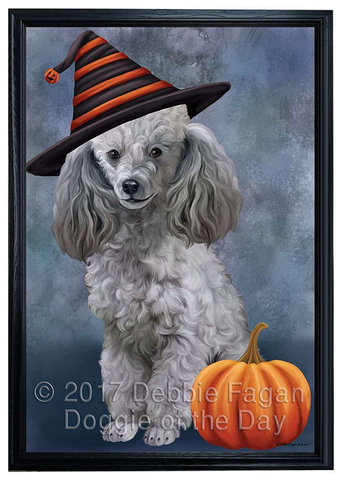 Happy Halloween Poodle Dog Wearing Witch Hat with Pumpkin Framed Canvas Print Wall Art