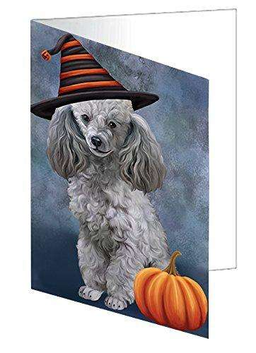 Happy Halloween Poodle Dog Wearing Witch Hat with Pumpkin Greeting Card
