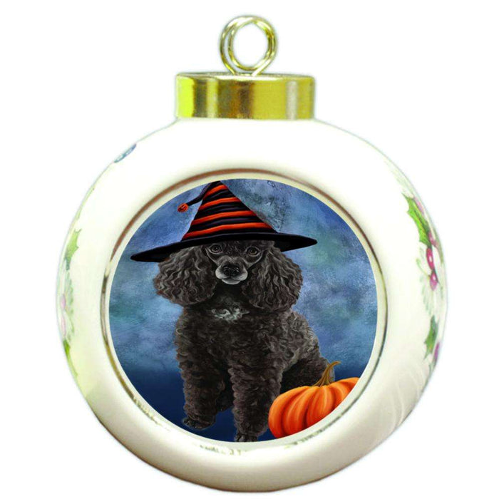 Happy Halloween Poodle Dog Wearing Witch Hat with Pumpkin Round Ball Christmas Ornament RBPOR54965
