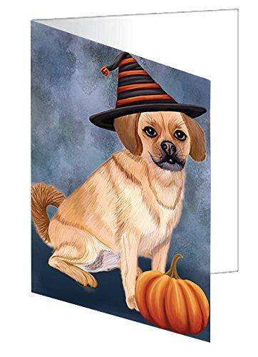 Happy Halloween Puggle Dog Wearing Witch Hat with Pumpkin Greeting Card D049