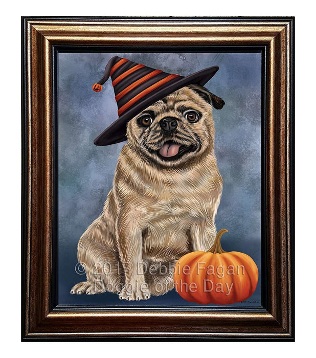 Happy Halloween Pugs Dog Wearing Witch Hat with Pumpkin Framed Canvas Print Wall Art