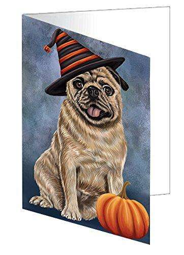 Happy Halloween Pugs Dog Wearing Witch Hat with Pumpkin Greeting Card