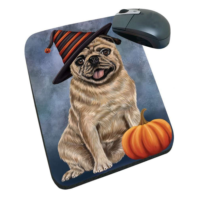 Happy Halloween Pugs Dog Wearing Witch Hat with Pumpkin Mousepad