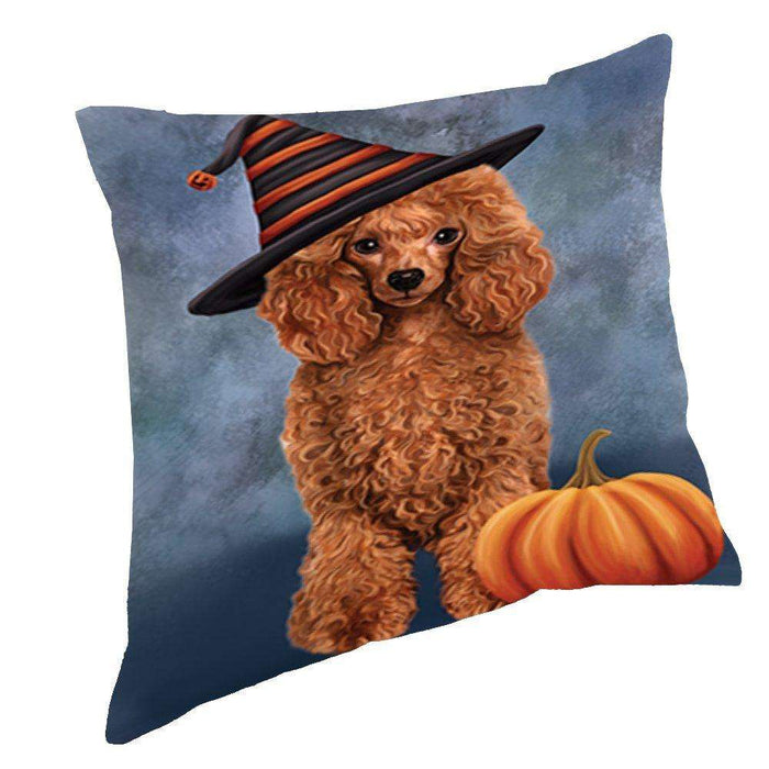 Happy Halloween Red Poodle Dog Wearing Witch Hat with Pumpkin Throw Pillow D139