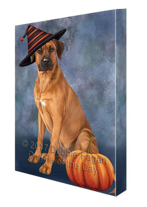 Happy Halloween Rhodesian Ridgeback Dog Wearing Witch Hat with Pumpkin Canvas Wall Art