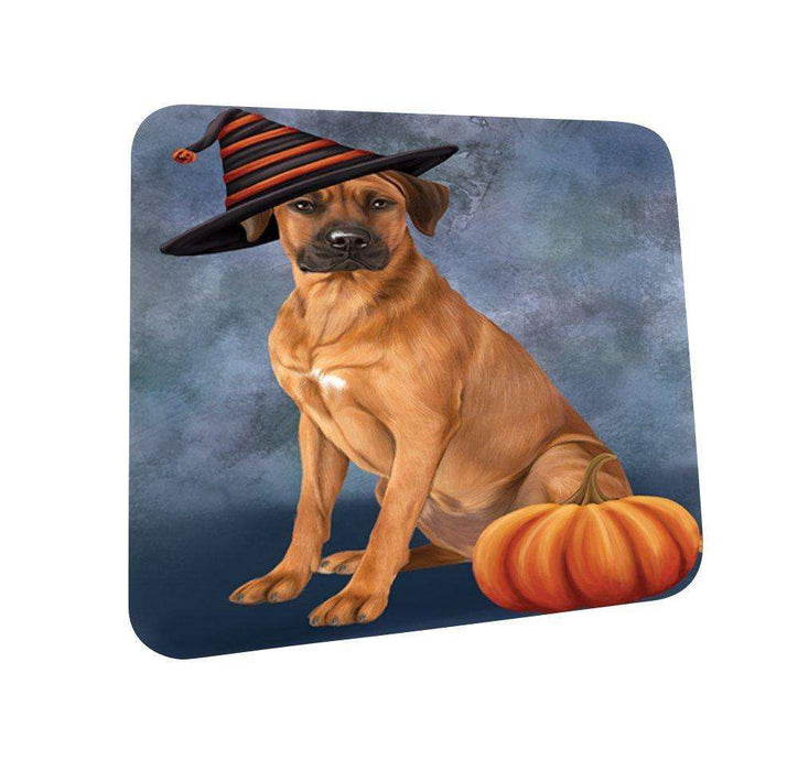 Happy Halloween Rhodesian Ridgeback Dog Wearing Witch Hat with Pumpkin Coasters Set of 4
