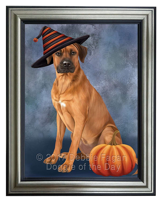 Happy Halloween Rhodesian Ridgeback Dog Wearing Witch Hat with Pumpkin Framed Canvas Print Wall Art