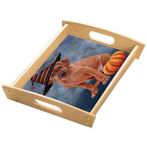 Happy Halloween Rhodesian Ridgeback Dog Wearing Witch Hat with Pumpkin Wood Serving Tray with Handles Natural