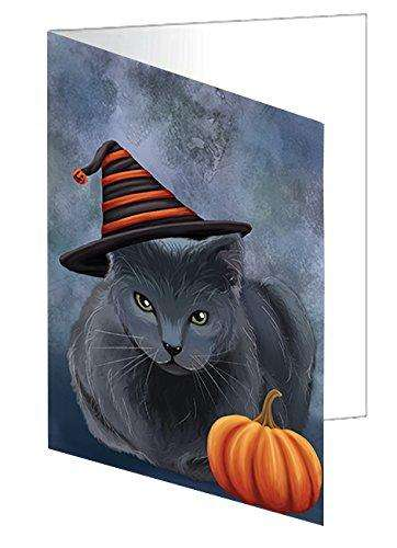 Happy Halloween Russian Blue Cat Wearing Witch Hat with Pumpkin Greeting Card D078