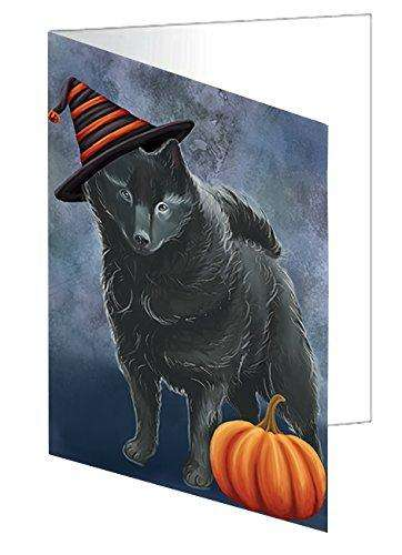 Happy Halloween Schipperke Dog Wearing Witch Hat with Pumpkin Greeting Card D083