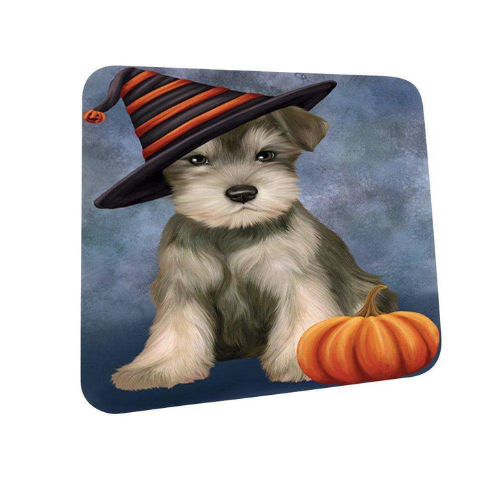 Happy Halloween Schnauzer Dog Wearing Witch Hat with Pumpkin Coasters Set of 4