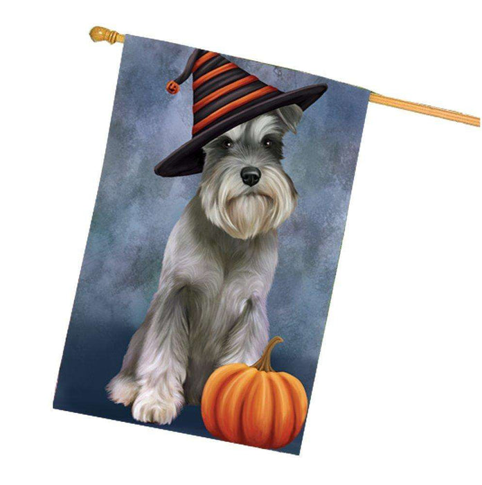 Happy Halloween Schnauzers Dog Wearing Witch Hat with Pumpkin House Flag