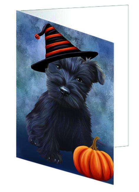 Happy Halloween Scottish Terrier Dog Wearing Witch Hat with Pumpkin Greeting Card GCD68804