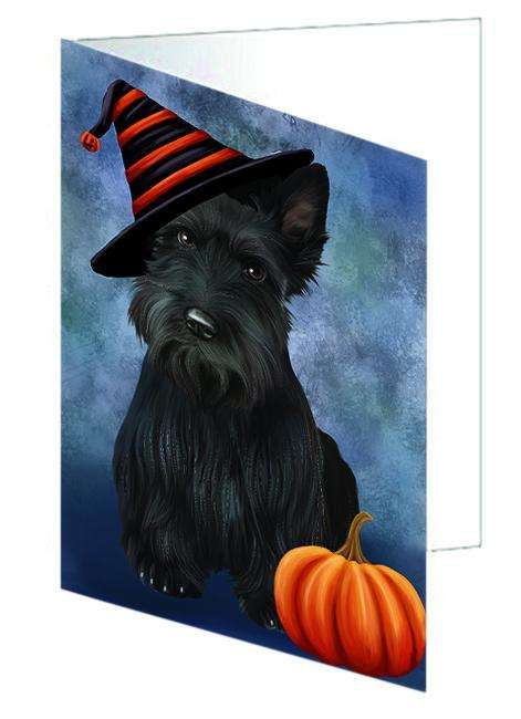 Happy Halloween Scottish Terrier Dog Wearing Witch Hat with Pumpkin Greeting Card GCD68807