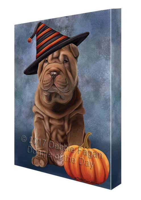 Happy Halloween Shar Pei Dog Wearing Witch Hat with Pumpkin Canvas Wall Art