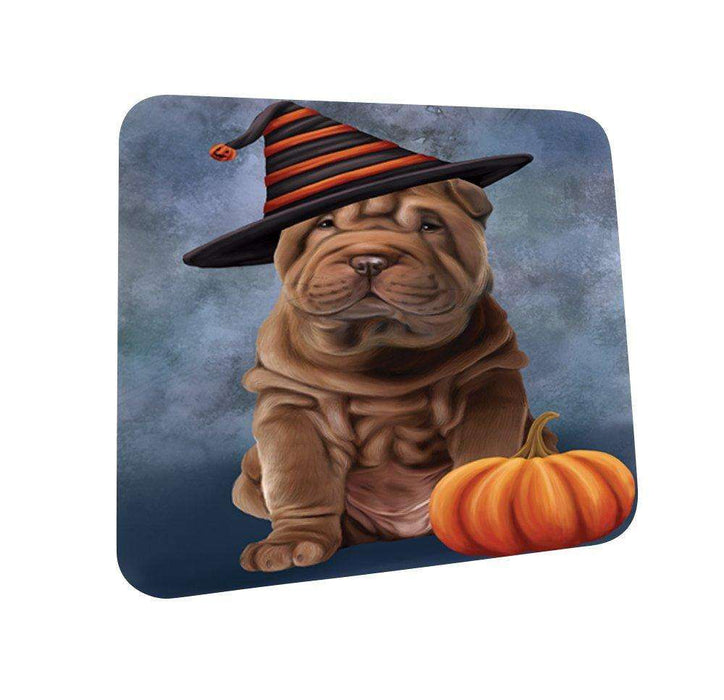 Happy Halloween Shar Pei Dog Wearing Witch Hat with Pumpkin Coasters Set of 4