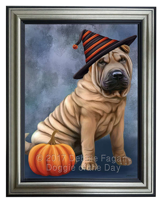 Happy Halloween Shar Pei Dog Wearing Witch Hat with Pumpkin Framed Canvas Print Wall Art