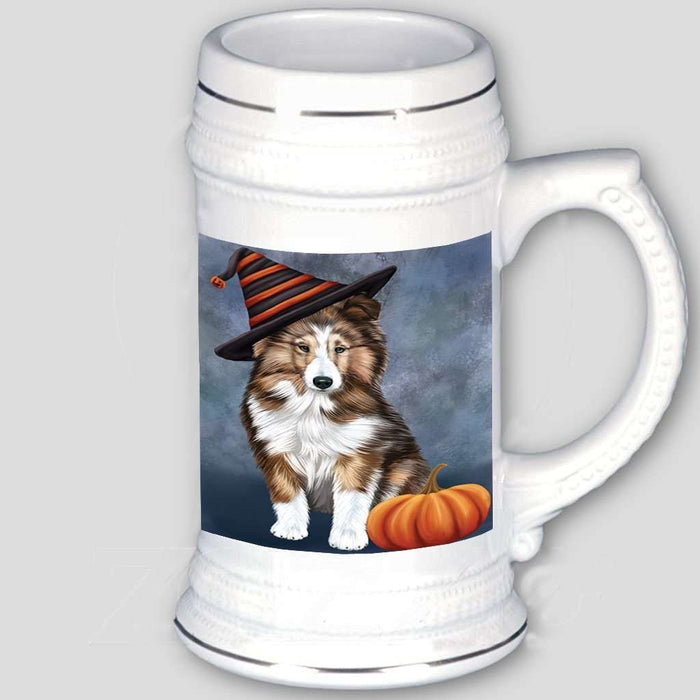 Happy Halloween Shetland Sheepdog Dog Wearing Witch Hat with Pumpkin Beer Stein
