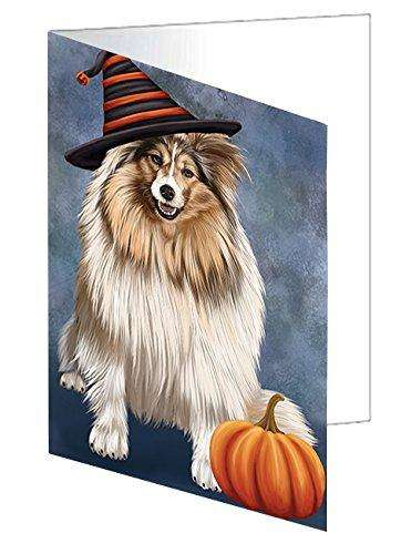 Happy Halloween Shetland Sheepdog Dog Wearing Witch Hat with Pumpkin Greeting Card