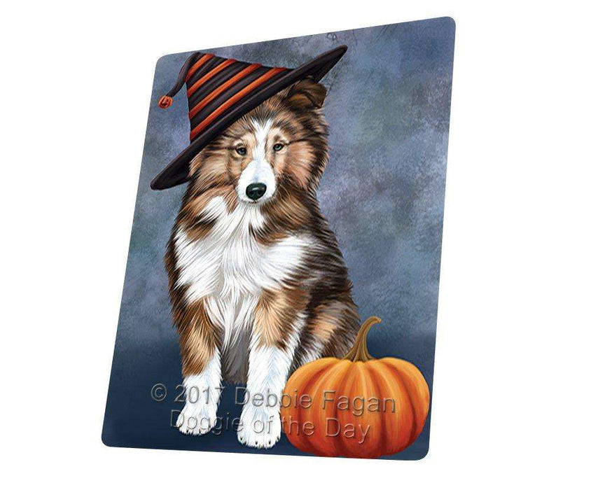 Happy Halloween Shetland Sheepdog Dog Wearing Witch Hat with Pumpkin Large Refrigerator / Dishwasher Magnet