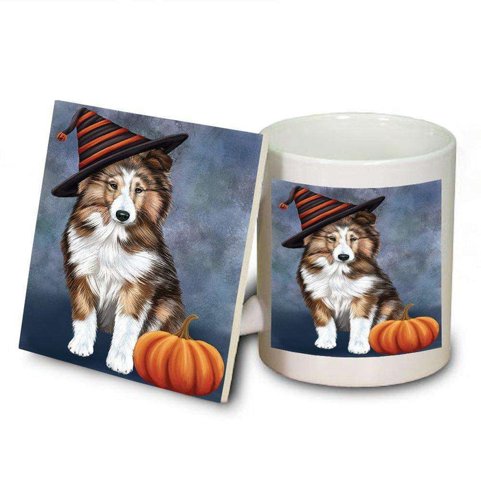 Happy Halloween Shetland Sheepdog Dog Wearing Witch Hat with Pumpkin Mug and Coaster Set