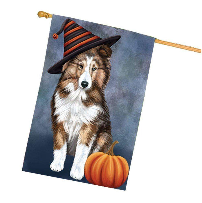 Happy Halloween Shetland Sheepdogs Dog Wearing Witch Hat with Pumpkin House Flag