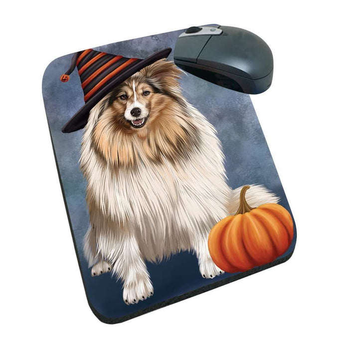 Happy Halloween Shetland Sheepdogs Dog Wearing Witch Hat with Pumpkin Mousepad