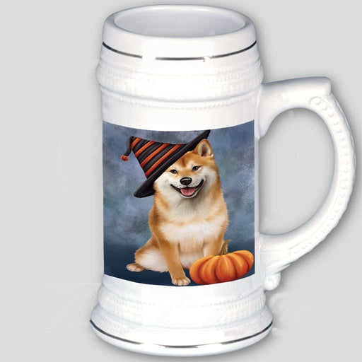Happy Halloween Shiba Inu Dog Wearing Witch Hat with Pumpkin Beer Stein