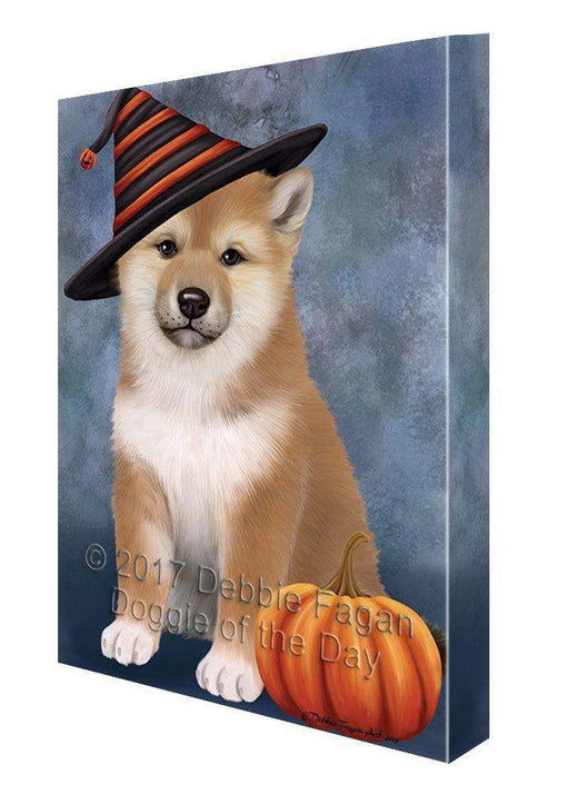Happy Halloween Shiba Inu Dog Wearing Witch Hat with Pumpkin Canvas Wall Art