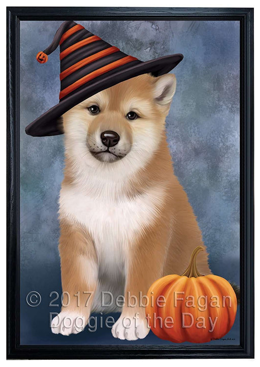 Happy Halloween Shiba Inu Dog Wearing Witch Hat with Pumpkin Framed Canvas Print Wall Art