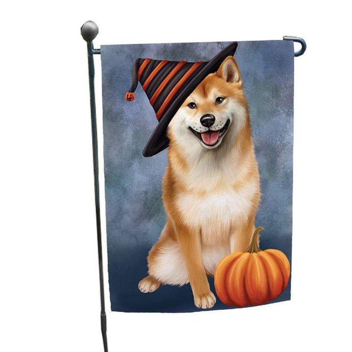 Happy Halloween Shiba Inu Dog Wearing Witch Hat with Pumpkin Garden Flag