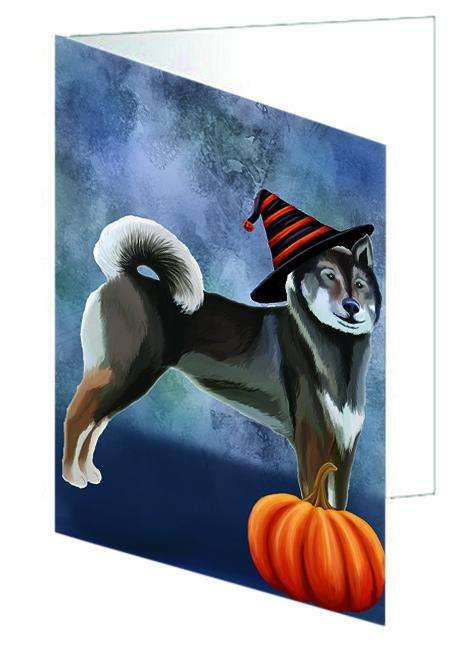 Happy Halloween Shikoku Dog Wearing Witch Hat with Pumpkin Greeting Card GCD68810