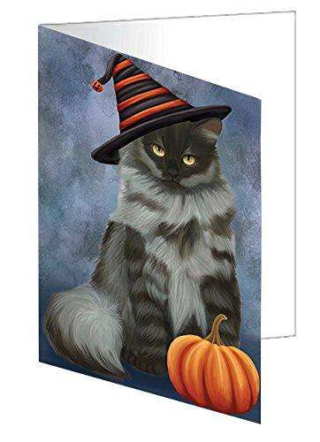 Happy Halloween Siberian Cat Wearing Witch Hat with Pumpkin Greeting Card D095